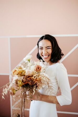 Bride with Bouquet at Modern and Minimal Wedding in San Diego, California
