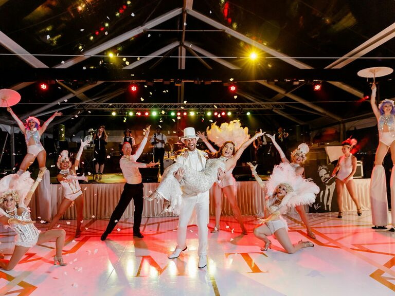Las Vegas-inspired entertainers at wedding reception
