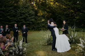 First Kiss at Outdoor Ceremony at Foxfire Mountain House in Tremper, New York