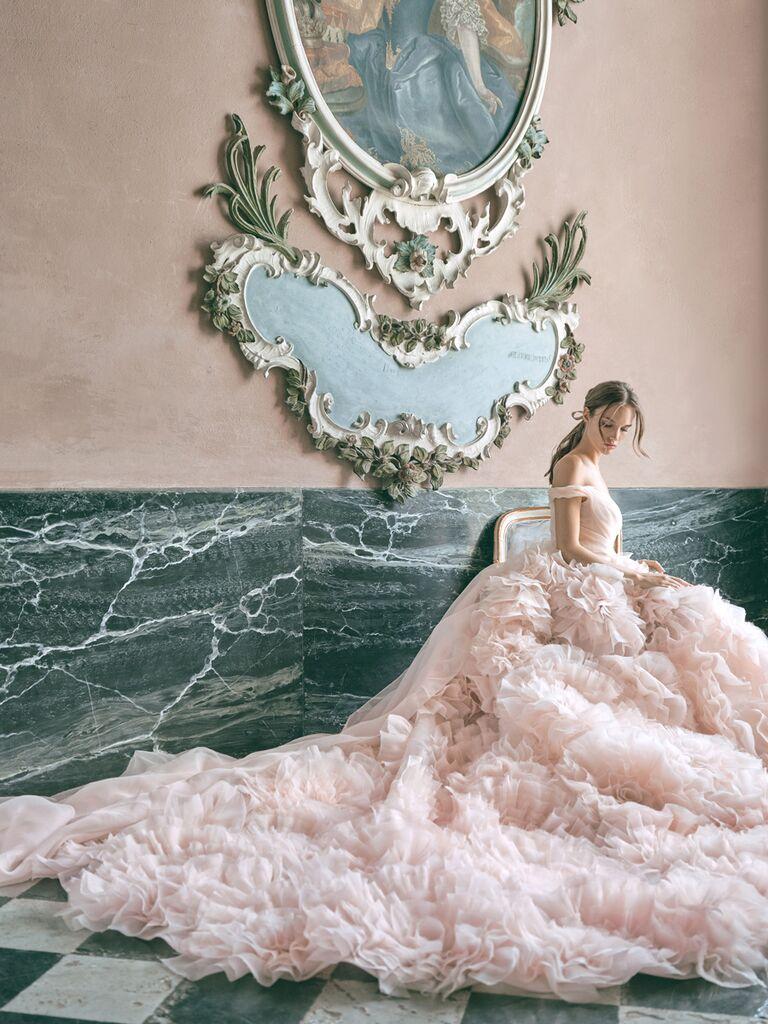 monique lhuillier pink ballgown