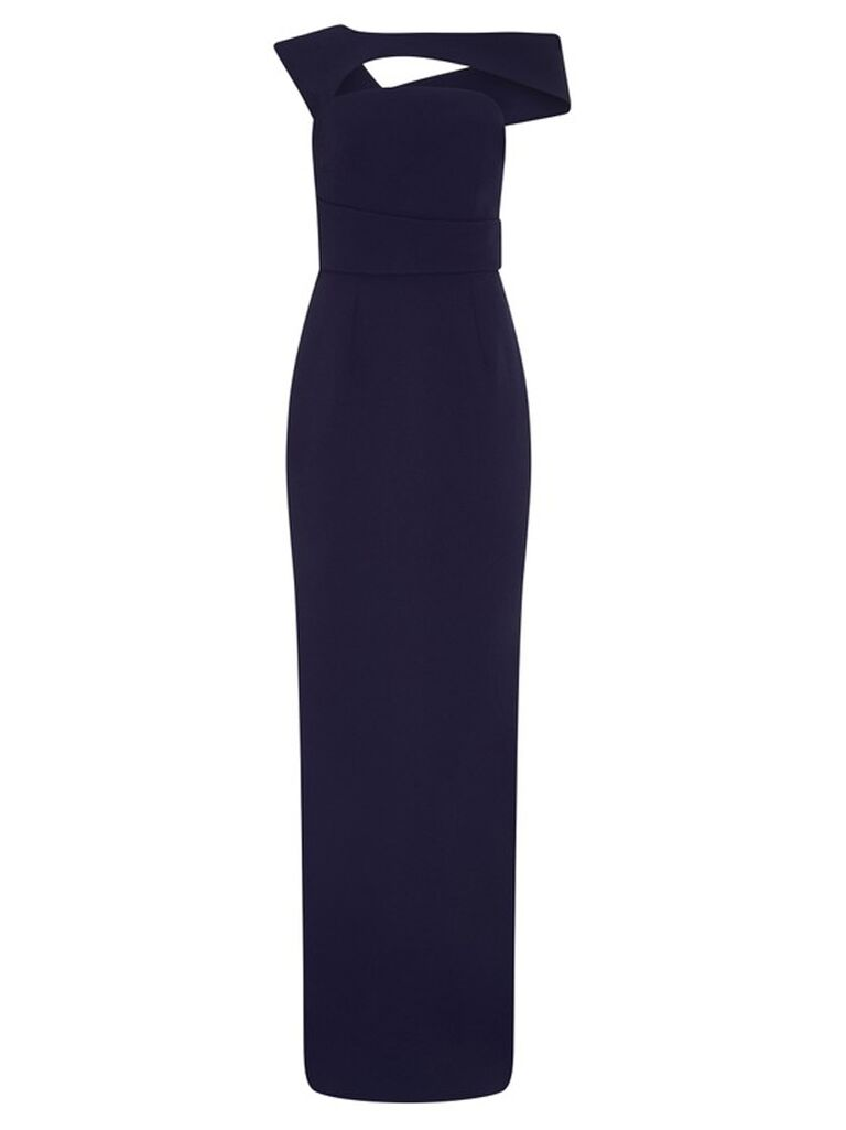 Fitted blue column dress with angular neckline