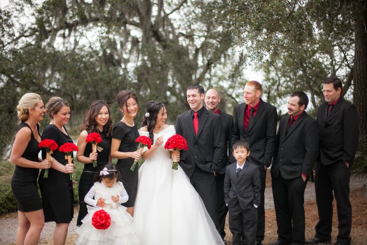 Black Bridesmaid Dresses Black And Red Suits