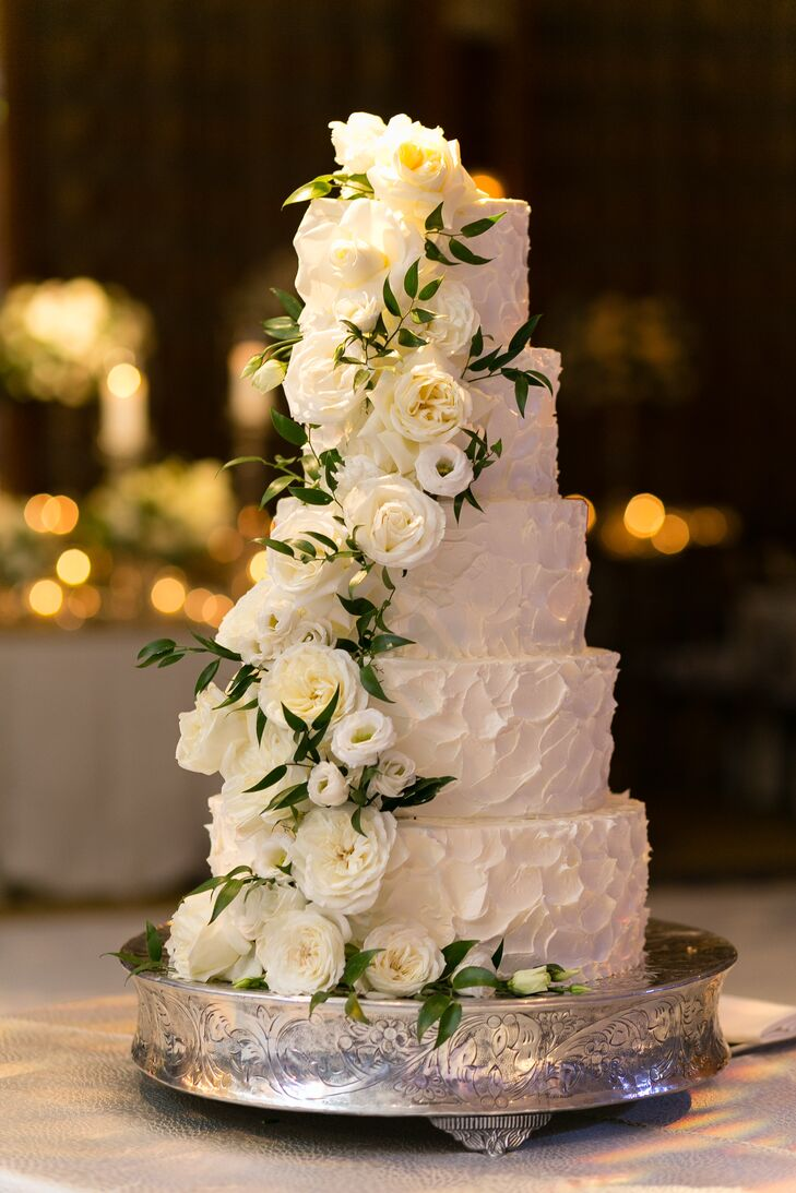 Five Tiered Elegant White Cake With Cascading Flowers