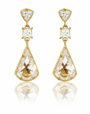 Thomas Laine Lucille Drop Earrings - Yellow Gold Wedding Earring photo