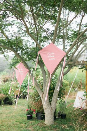 Personalized Kites Decorating Backyard Reception Area
