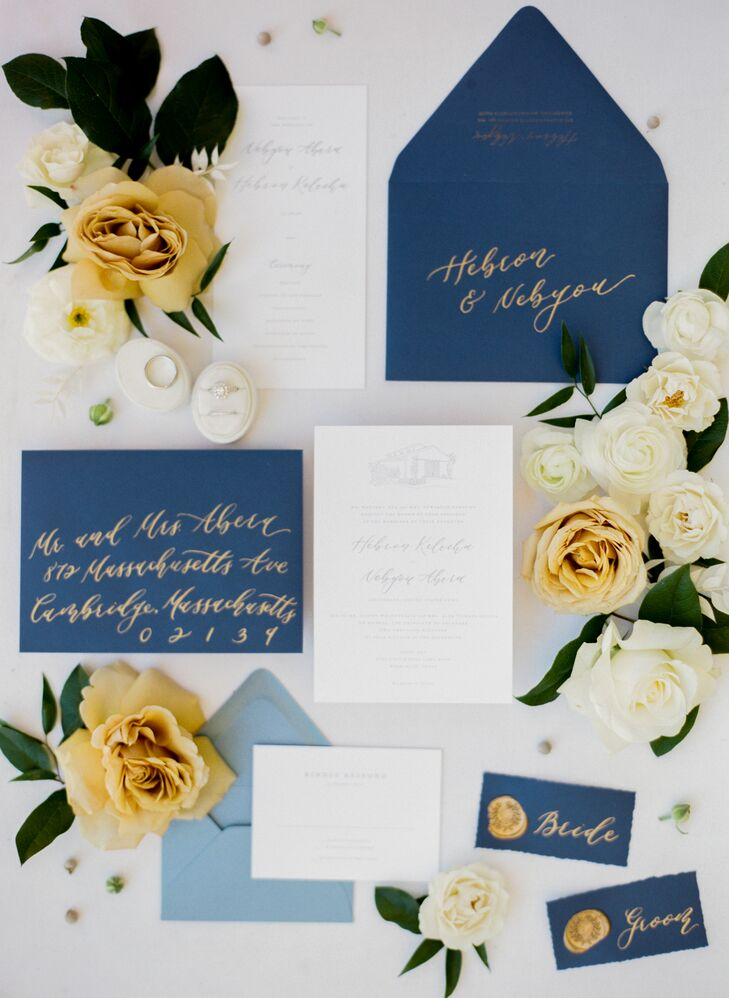 Navy-and-Gold Invitations for Wedding at The Ivory Oak in Wimberley, Texas