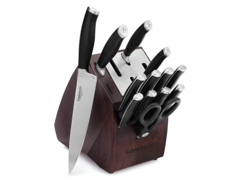 the perfect knife set comes in a block thatll look stylish on their kitchen counter if the couple loves to cook this bridal shower gift will get used