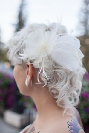 White Lace and Feather Hair Fascinator