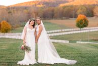 Emma Davis (26 and a teacher) and Haleigh Spencer Busby (24 and a law school and MBA student) decked out their barn venue at Castle Hill Cider in Kesw