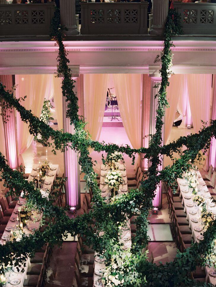 Wedding Reception with Green Garlands