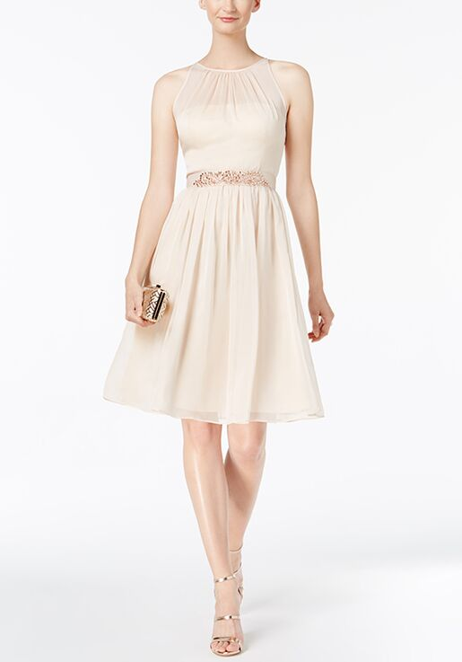 Adrianna Papell Adrianna Papell Belted Chiffon Halter Dress Illusion Bridesmaid Dress