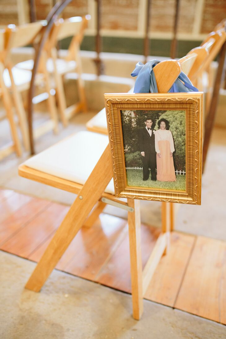 """I collected old wedding pictures of our parents and grandparents, and we hung them on chairs along the aisle,"" Abbie says."