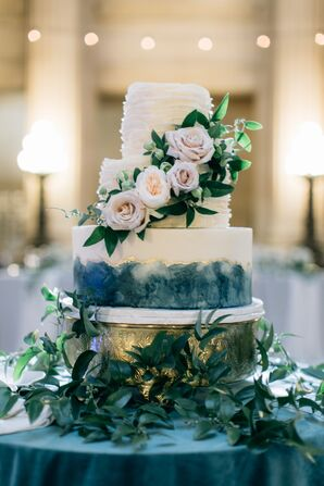 Tiered Cake with Watercolor Design, Peonies and Roses