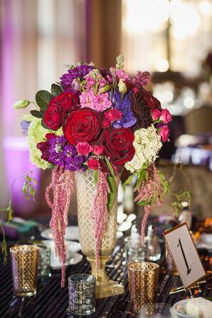 Rose, Hydrangea and Amaranthus Centerpiece