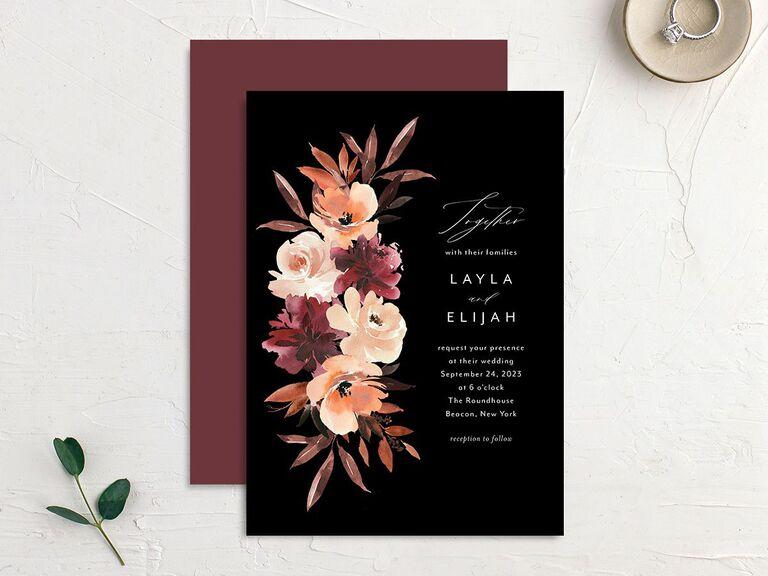 Rustic fall blooms wedding invitation