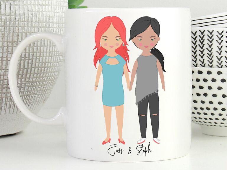 Custom mug featuring illustration of couple holding hands and their names