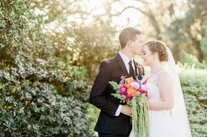 Classic Dapper Groom and Elegant Bride with Colorful Bouquet