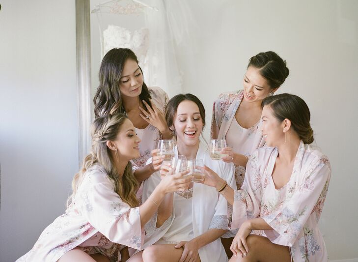Bridesmaids Getting Ready for Wedding at Saddlerock Ranch in Malibu, California