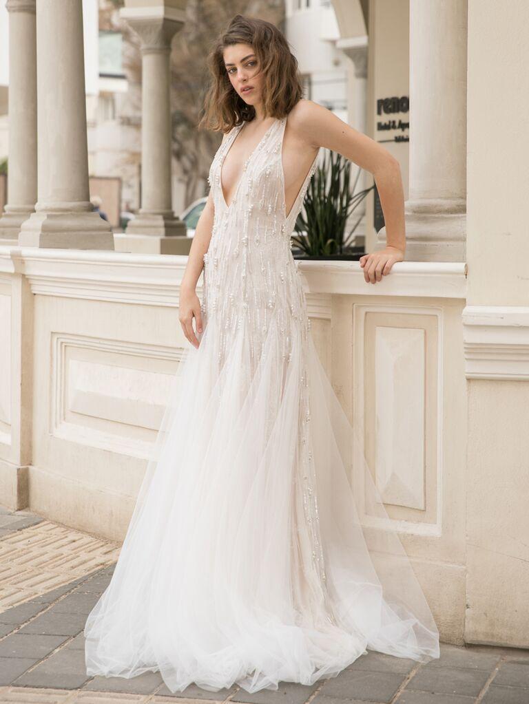 Dana Harel Spring 2020 Bridal Collection embellished V-neck wedding dress