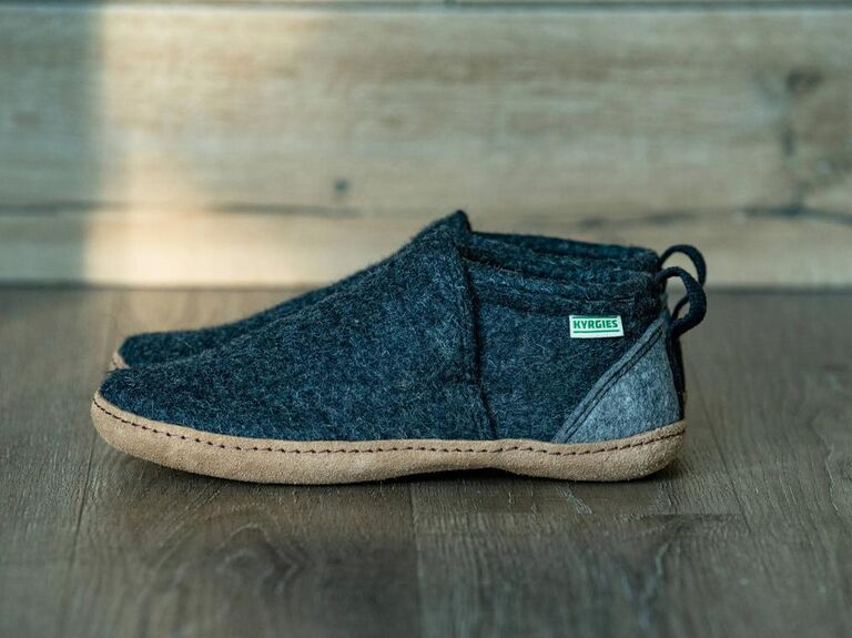 Handmade wool and leather slippers son-in-law gift
