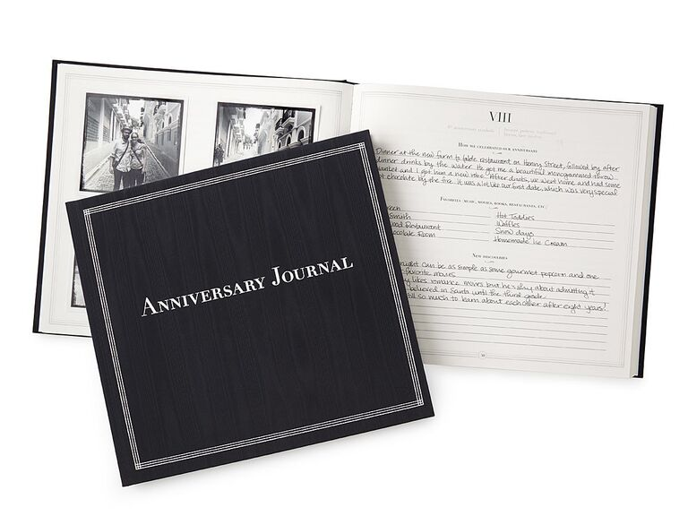 Anniversary Journal bound with black cover shown open and closed