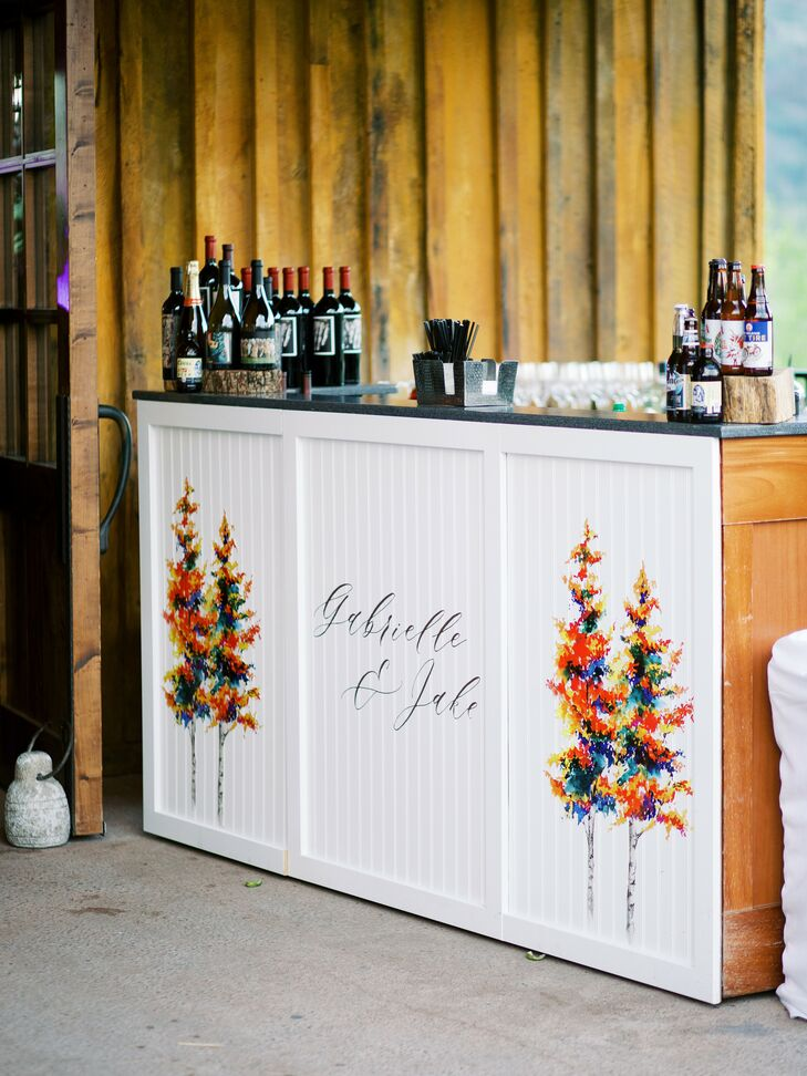 Custom Bar Front with Trees and Calligraphy