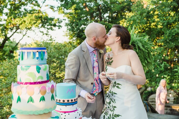 Colorful Hand-Painted Geometric Wedding Cake