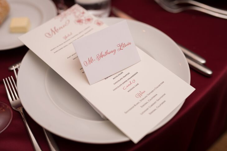 Red Table Linens With White Dinnerware