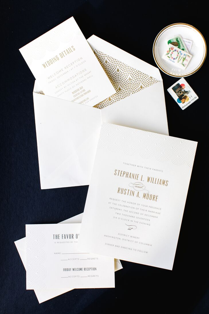 Minimal Invitation Suite with Gold Typography and Art Deco Envelope Design
