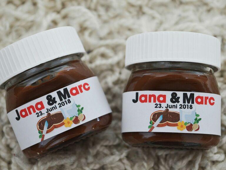 Mini Nutella jars unique wedding favors
