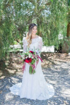 Bohemian Garden Wedding, Long-Sleeve Wedding Gown