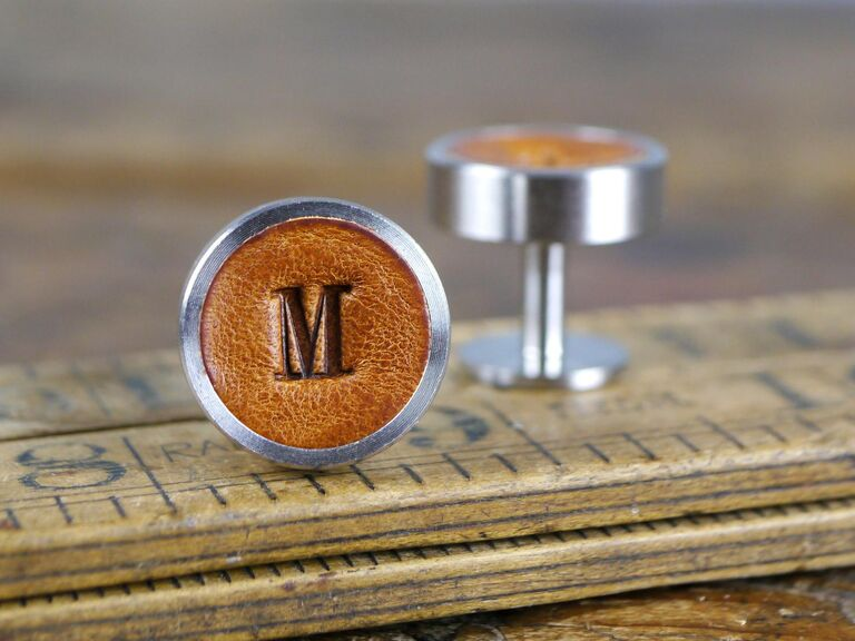 Leather monogram cuff links third anniversary gift