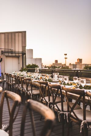 Rooftop Reception with Bohemian Chiavari Chairs and Farm Tables
