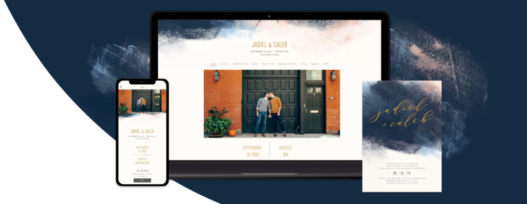 Blue Modern Brushstroke wedding website design on various devices with a matching invite card