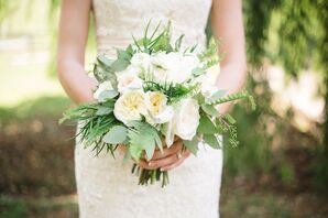 White Garden Rose, Seeded Eucalyptus and Fern Bridal Bouquet