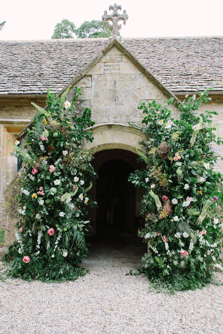Greenery and Flower Arrangements Outside Cornwell Manor Church