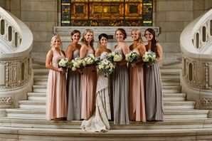 Bridesmaids in Pink and Gray Dresses