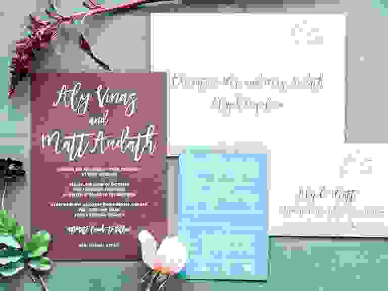 Calligraphed wedding-invitation envelopes