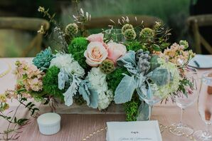 Lush Greens and Flower Centerpieces