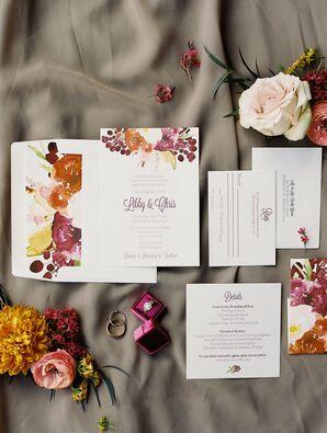 Fall Floral Watercolor Wedding Invitations