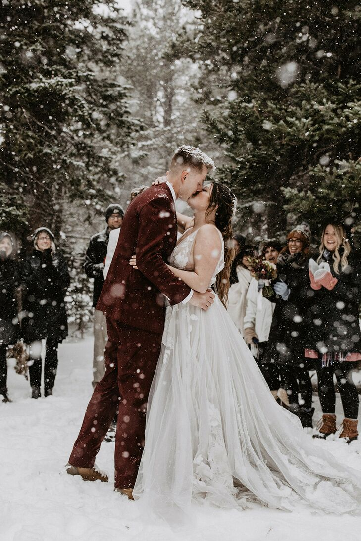 Snowy First Kiss in Ward, Colorado