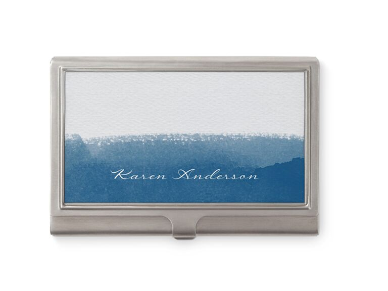 Silver business card holder 25th anniversary gift