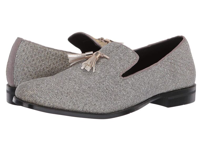 Sparkly silver wedding loafers for men