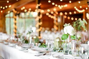 Simple Reception with String Lights and Single Bud Arrangements