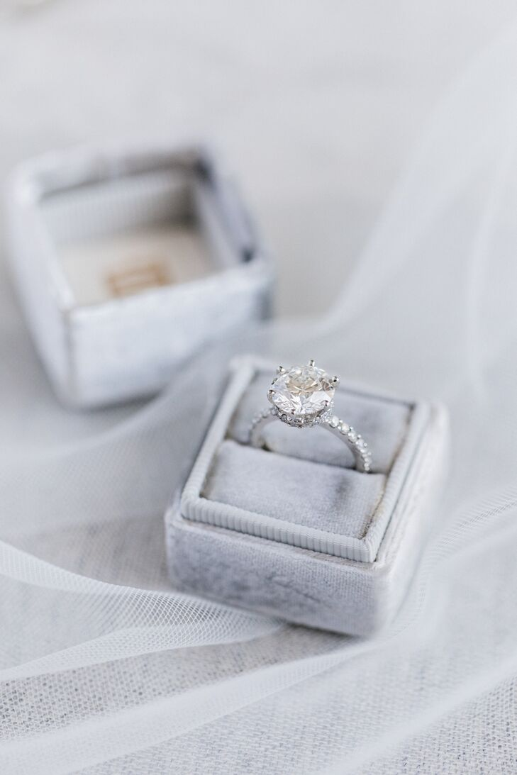 Classic Solitaire Diamond Engagement Ring with Diamond Band