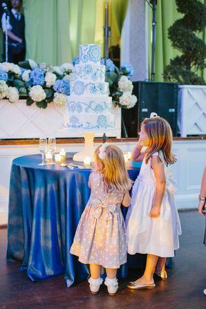 Festive Navy Blue Ballroom Reception