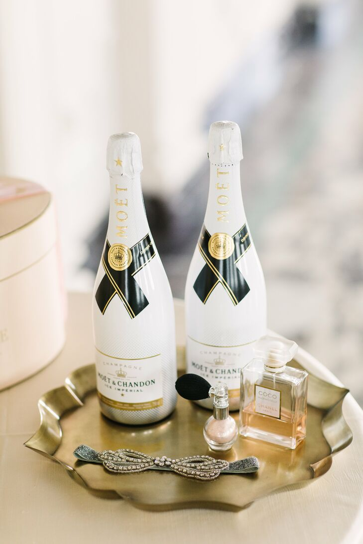 Silje and Tommy left no detail overlooked, even for the preceremony events. While Silje and her bridesmaids got ready, they sipped on Moet champagne. The bottles fit in perfectly with the day's theme and palette, bearing sleek white and gold labels.