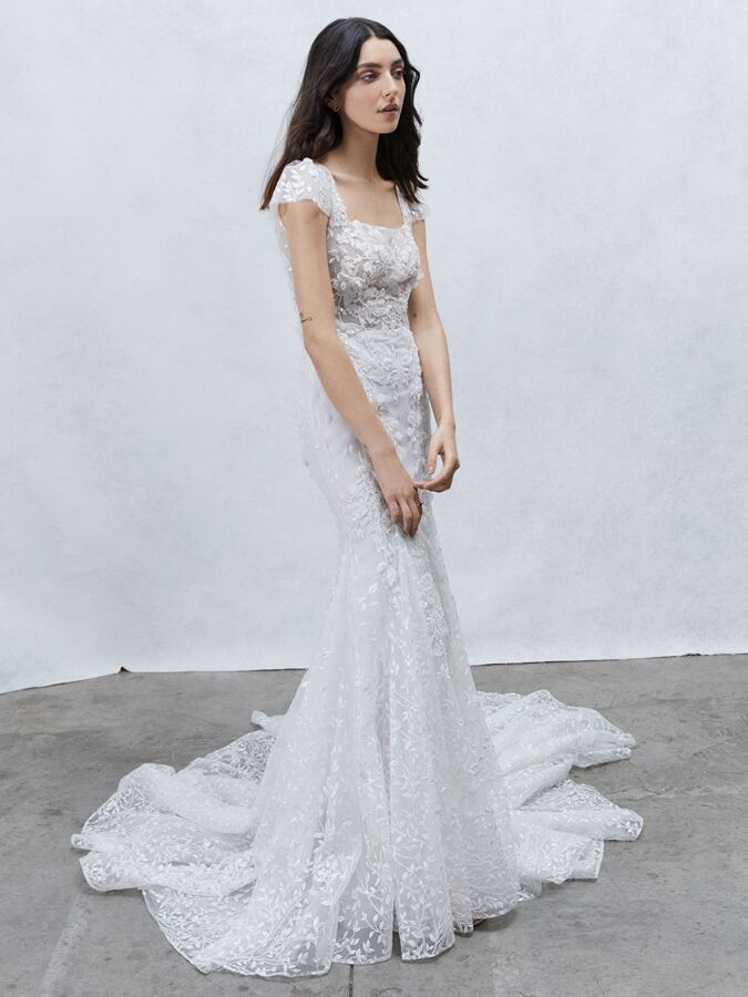 Alyne Collection lace sheath dress with cap sleeves