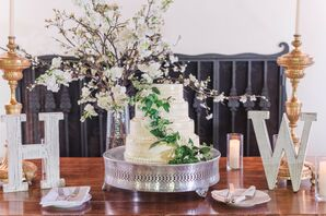 Elegant Wedding Cake with Cake Stand, Decorative Letters and Flower Arrangement