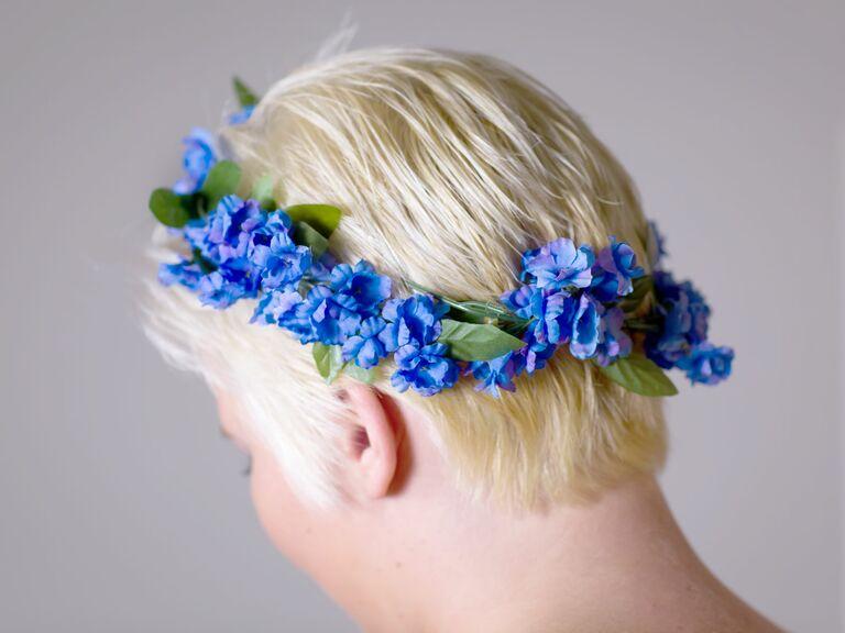 Blue fabric flower crown